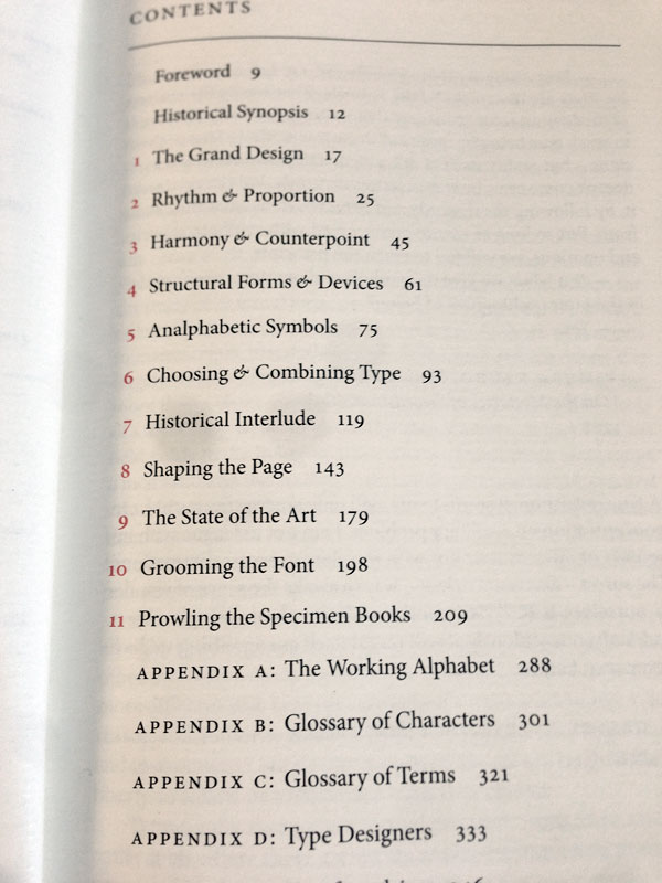 Bringhurst Table of Contents