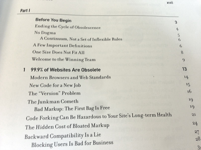 Zeldman Table of Contents